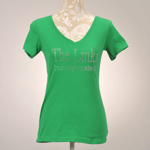 Girlfriends Clear Rhinestone Green V-Neck T-Shirt