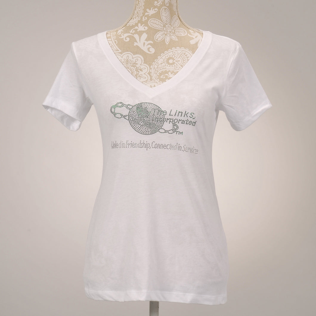 LINKS Logo Green & Clear White V-Neck T-Shirt
