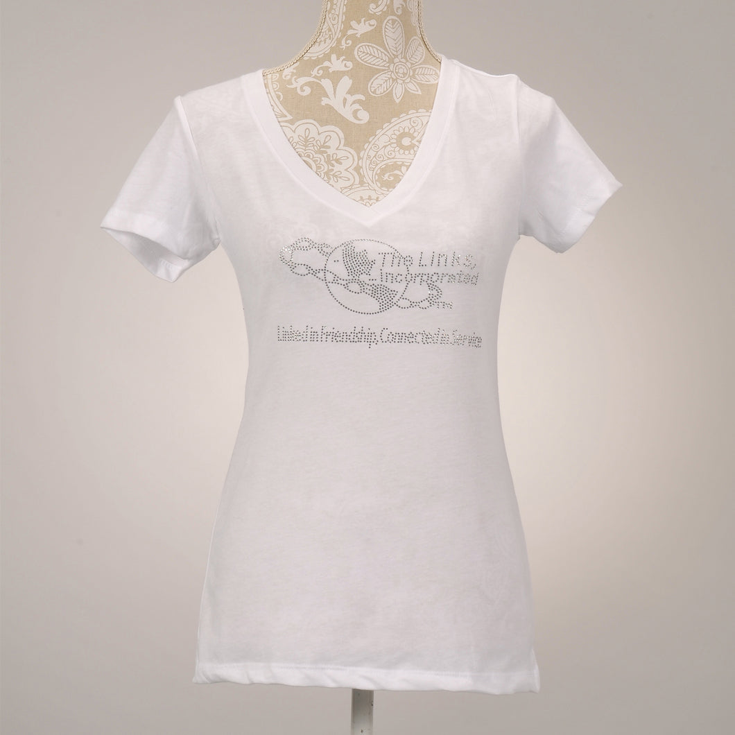LINKS logo Clear V-Neck White T-Shirt