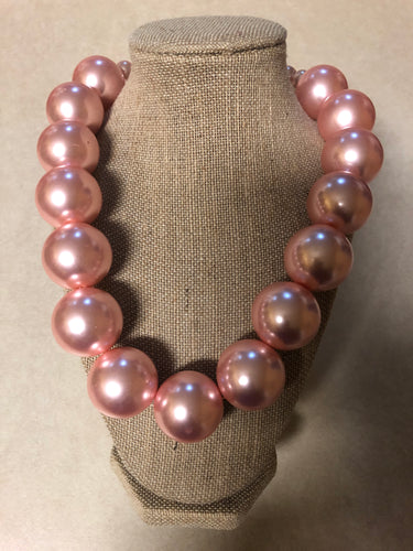 Large Single Strand Pink Pearl Set With Matching Earrings