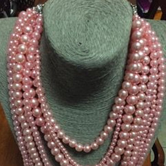 Multi-Strand Long Pink Pearl Set