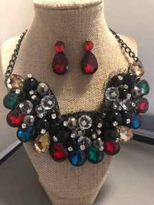 Multi Color Crystal Necklace Set