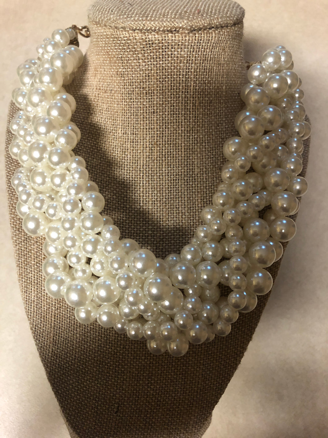 Multi Strand Cream Pearl Set With Matching Earrings