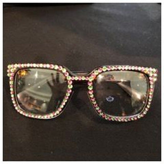 Pink & Green Rhinestone Clear Glasses