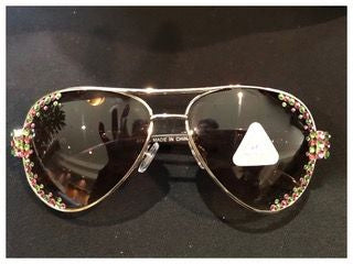 Pink & Green Rhinestone Sunglasses