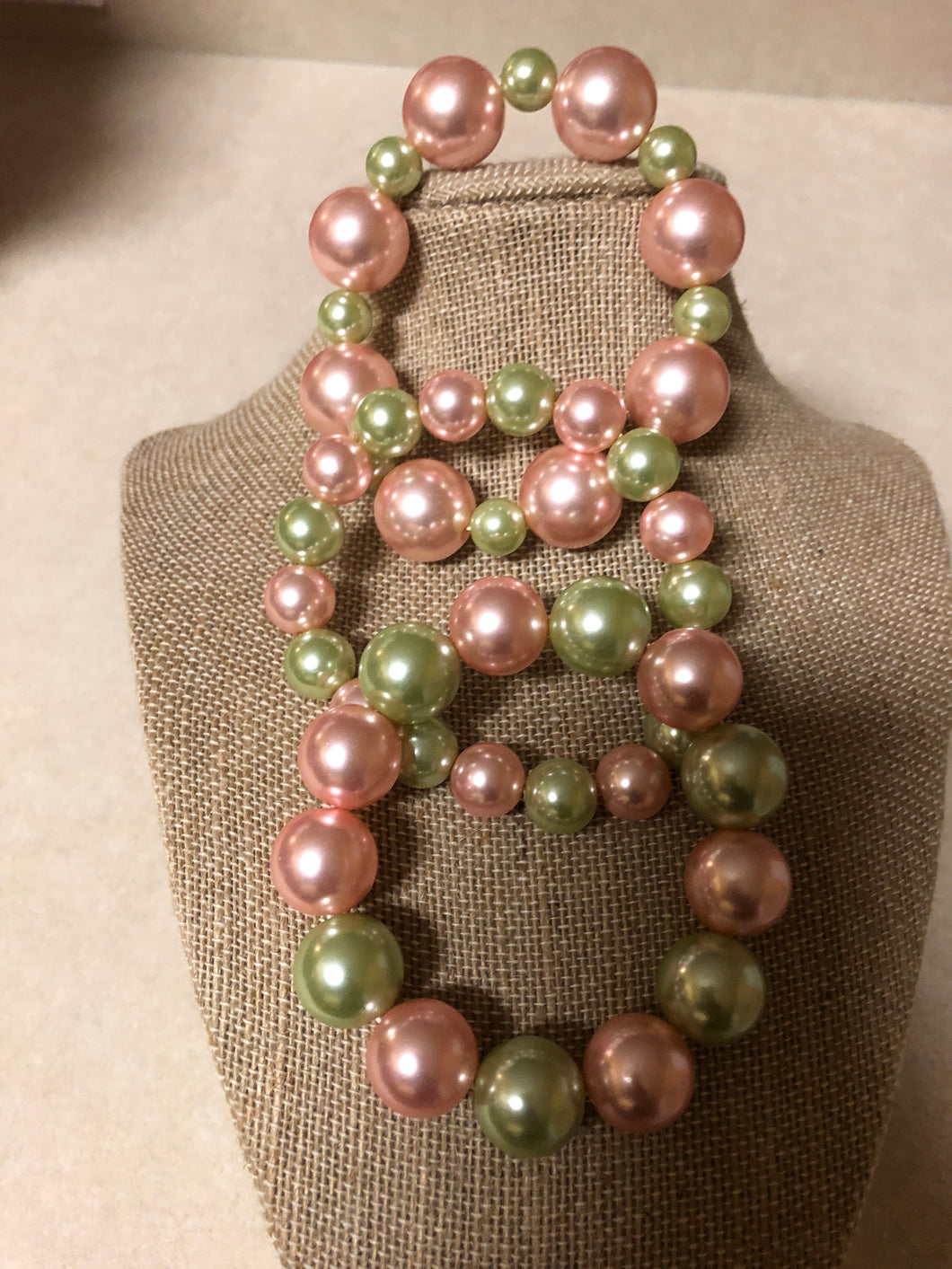 Pink and Green Pearl Bracelet Set of 3