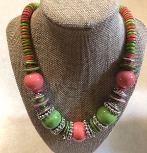 Pink and Green Wood Pearl Set