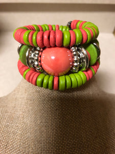 Pink and Green Wood Wrap Bracelet