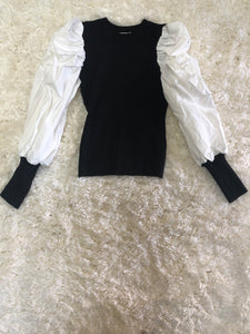 Kelli Black and White Puff Sleeve Sweater