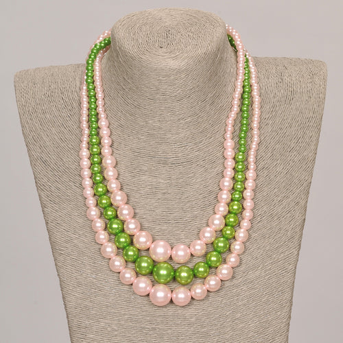 Three Strand Pink & Green Pearl Set With Matching Earrings
