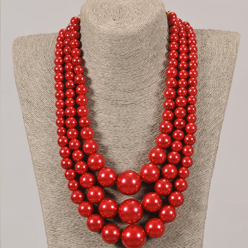3 Strand Red Pearl Set With Earrings
