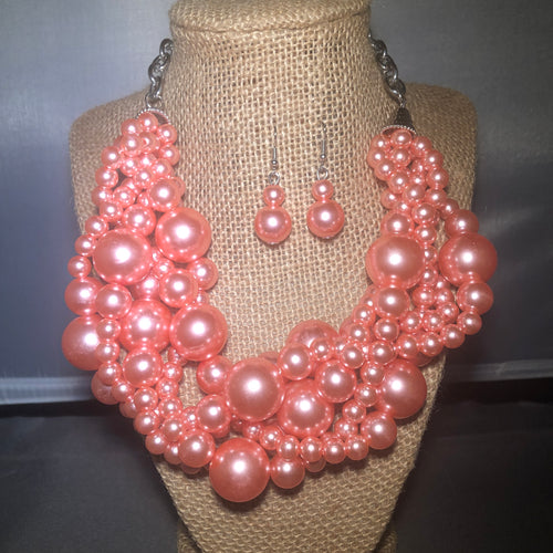 Three Twist Multi Strand  Pink Pearl Set With Matching Earrings