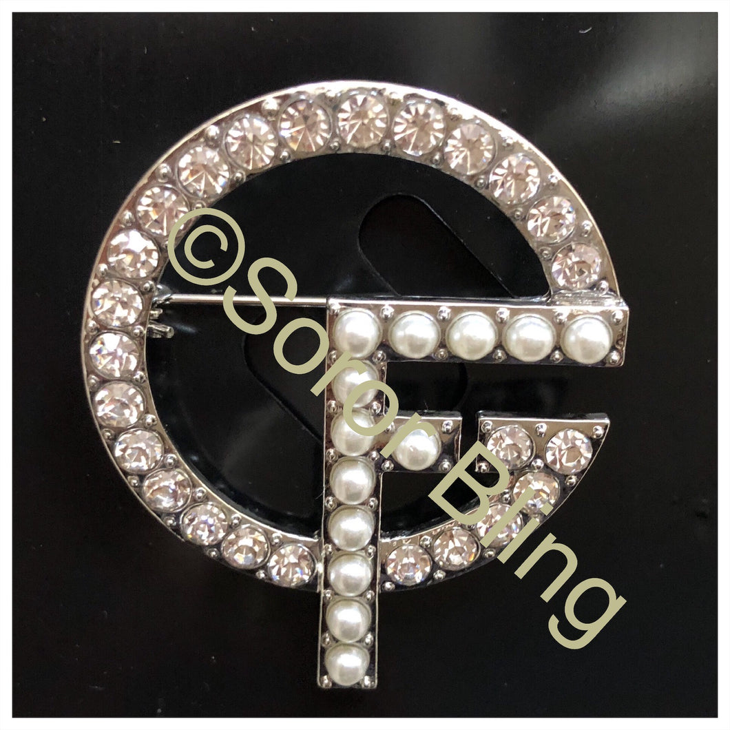 Girlfriends Round Clear Rhinestone Pearl  Pin