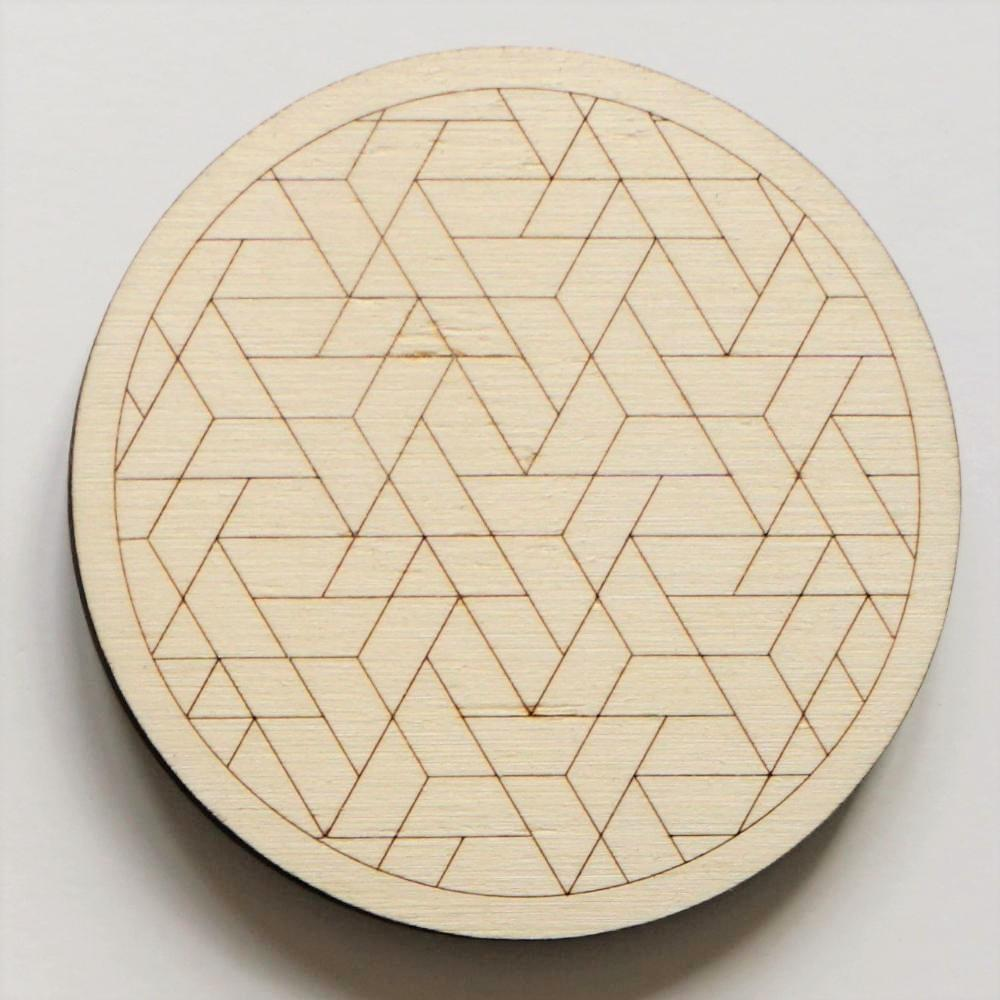 Laser cut geometric coasters