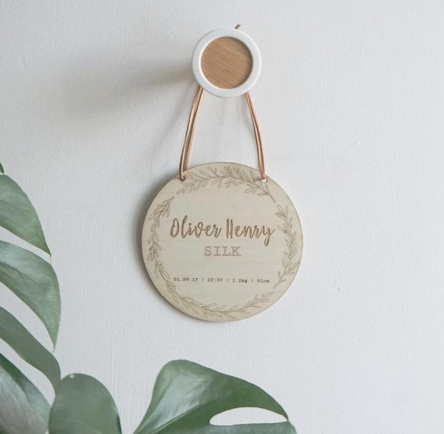 Birth details wall hanging laser cut