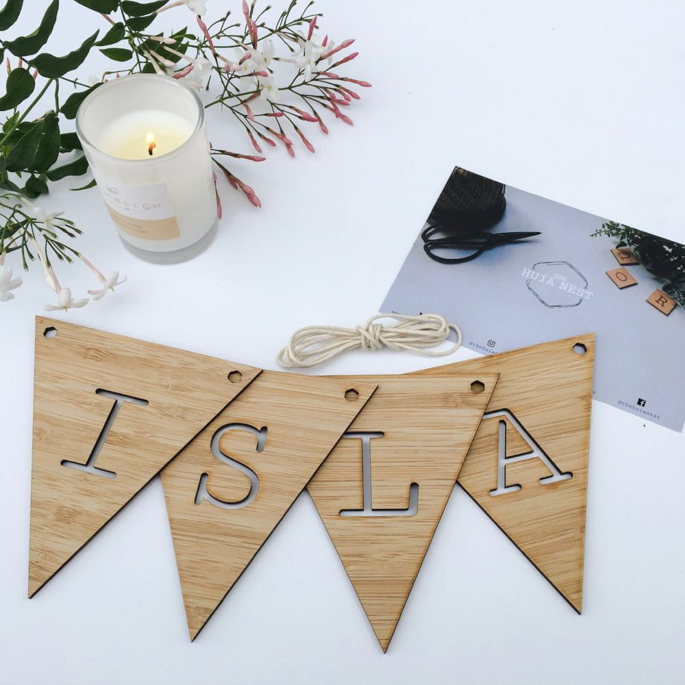 Wooden name bunting New Zealand