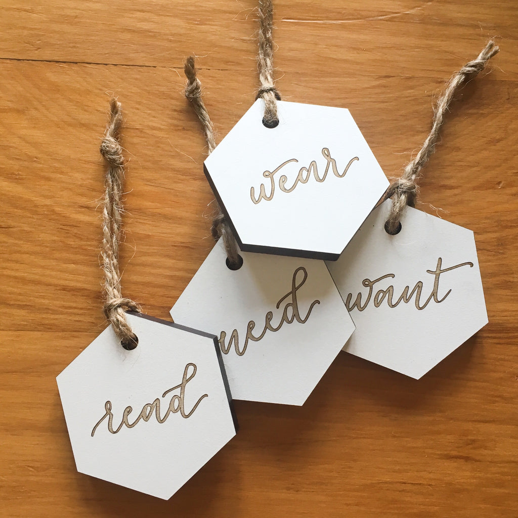 Want/Read/Wear/Need Hexagon Gift Tag Set