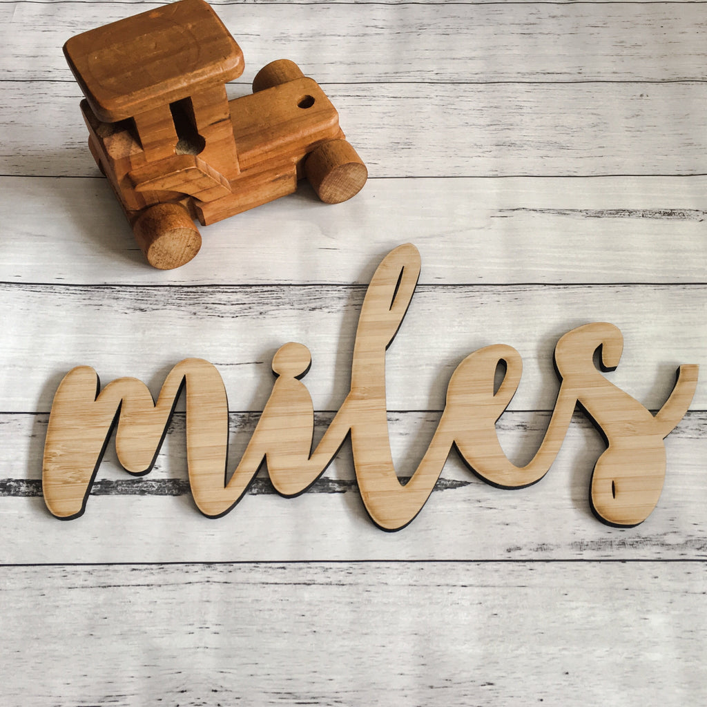 Large Bamboo Laser Cut Name