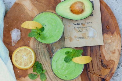Refreshing Keto Matcha Smoothie with Avocado, Lemon & Mint
