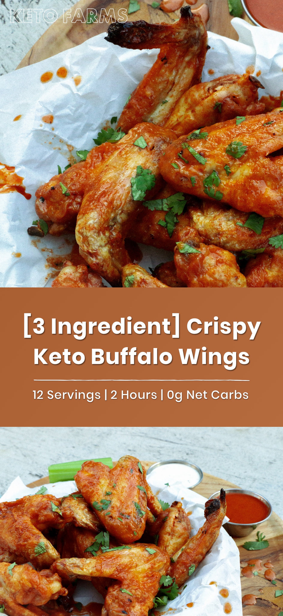 [3-Ingredient] Crispy Keto Buffalo Wings
