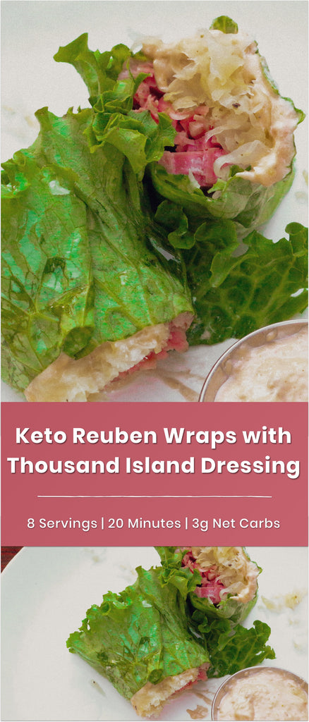 Keto Reuben Wraps with Homemade Thousand Island Dipping Sauce