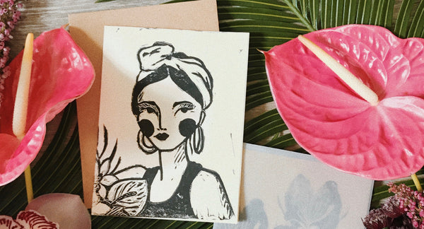 block print art with tropical flowers