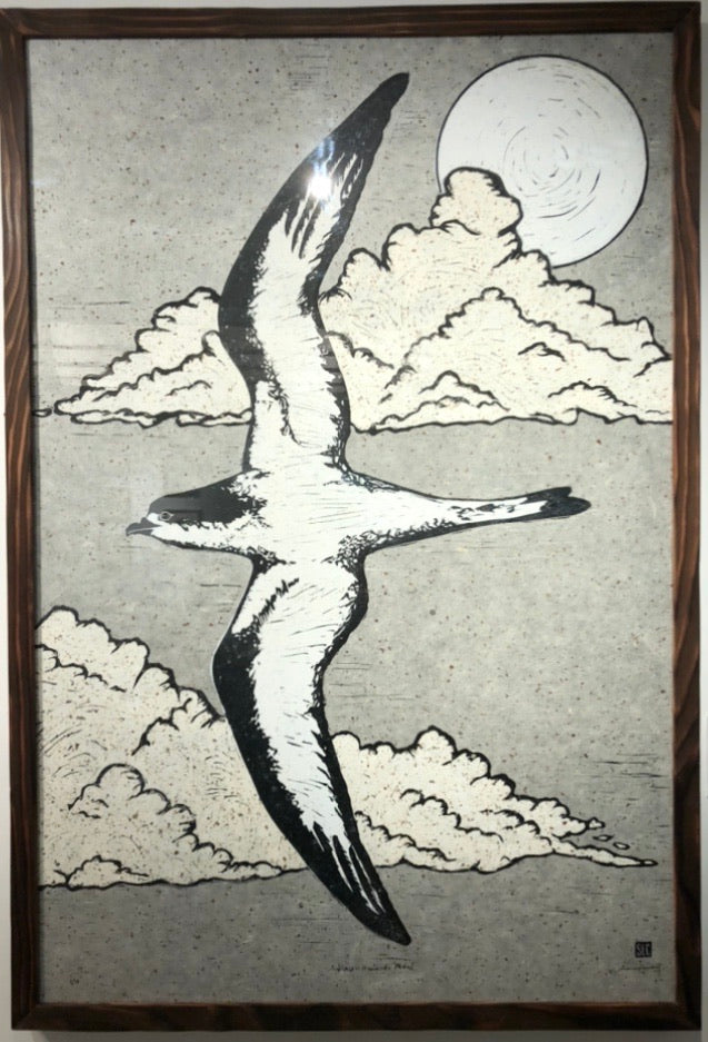 Block print art of 'Ua'u Hawaiian Petrel with moon and clouds