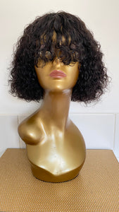 "10"" Curly Brazilian Wig with a bang"