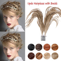 15 Inch 2-Bendable Flexible Wires Foxtail Comb Updo Hairpiece Messy Bun Clip in hair Extensions  with Tiny Braid - ElectraFied
