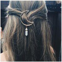 1pcs New Fashion Cresent Moon Quartz Hexagon Prism Charm Hairpin Hair Clips Gifts - ElectraFied
