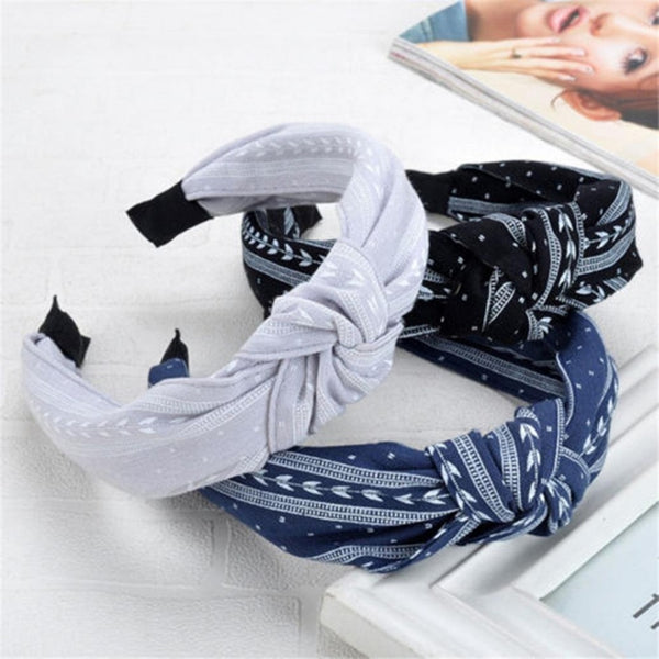 Elegant Style Women Cloth Knotting Fashion Leaves Wide Hairband Headband Hair Accessories - ElectraFied