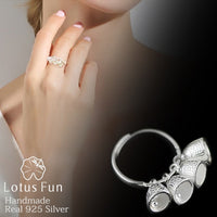 Lotus Fun Real 925 Sterling Silver Women Ring Handmade Jewelry Ethnic Vintage Fish Bell Open Rings