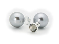 Front and Back CZ Faux Pearl Earrings 925 Sterling - ElectraFied