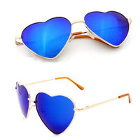 Fashion Heart Shaped Women Men Metal Frame Reflective Anti-UV Sunglasses - ElectraFied