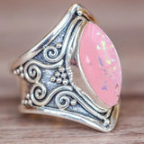 (   *)   Hot Sale !!!  1PC Boho Jewelry Silver Natural Gemstone Marquise Pink Opal Personalized Ring - ElectraFied