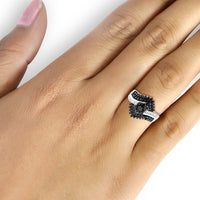 JewelonFire 1.00 CTW Black And White Diamond Cluster Bypass Ring in Sterling Silver