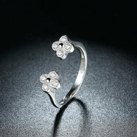 100% Real 925 Sterling Silver Flower Shape Finger Ring with Zircon Woman Fashion Party Jewelry Christmas Gift TRUELOVE Brand R12 - ElectraFied