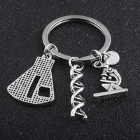 Unique Spiral Microscope Conical Flask Letter Keychain