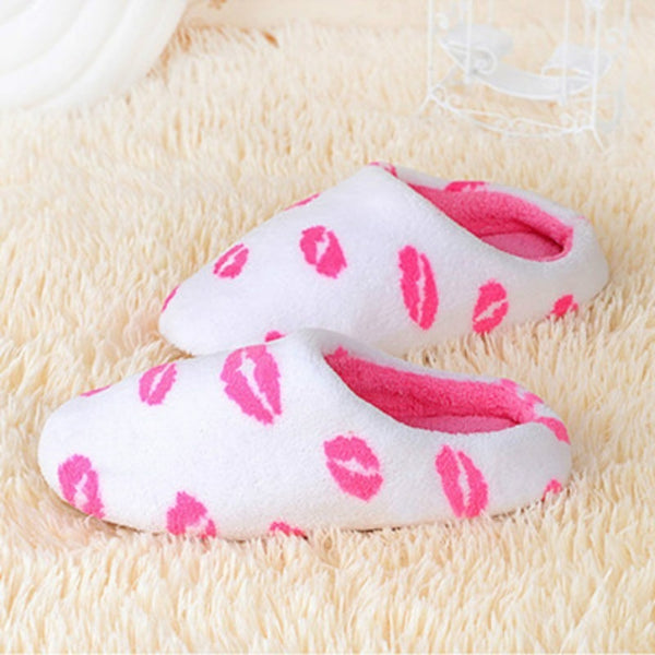 3 Colors Soft Sole Suede Plush Autumn Winter Home Slippers Women Indoor\Floor Print Cow Lip Prints Slippers - ElectraFied