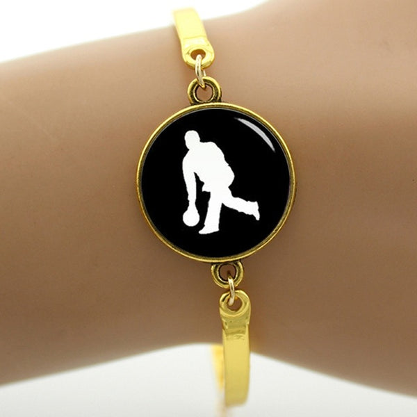 Golf player silhouette art bracelet casual sports Bowling Swimming Tennis handmade gift vintage simple elegant jewelry - ElectraFied