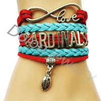 Custom Red Suede Baby Blue Braided Leather Cardinals Football Charm Bracelet