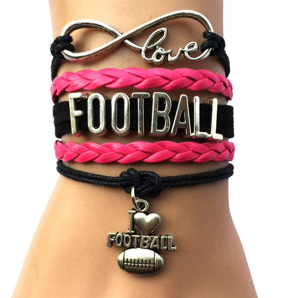 Infinity Love Football Bracelet- Black with Fuchsia Leather Wrapped Multilayer Friendship Sports Team Gift