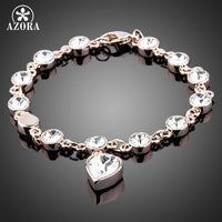 AZORA Rose Gold Color Austrian Crystal Strand with Heart Crystal Pendant Bracelets TS0028