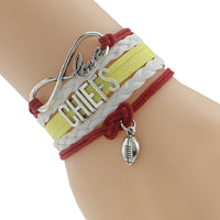 Infinity Love Chiefs Football Team Bangles Customize Kansas City Sport wristband friendship Bangles - ElectraFied