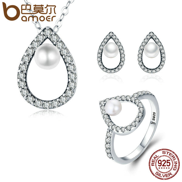 BAMOER Real 925 Sterling Silver Glittering Water Droplet Necklace Earrings Ring Jewelry Sets Wedding Engagement Jewelry