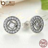 BAMOER Authentic Real 925 Sterling Silver Vintage Allure, Clear CZ Stud Earrings