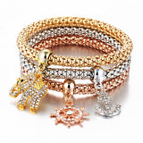 17KM Fashion Gold Color Crystal Skull Bracelet & Bangle New Charm Luxury Love Heart Women Bracelet Gift 3 PCS/Set - ElectraFied