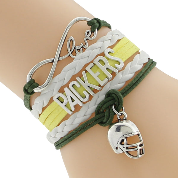 Infinity Love Green Bay Packers Football Team  Cord Bracelet Green yellow Customize Sports friendship Bracelets