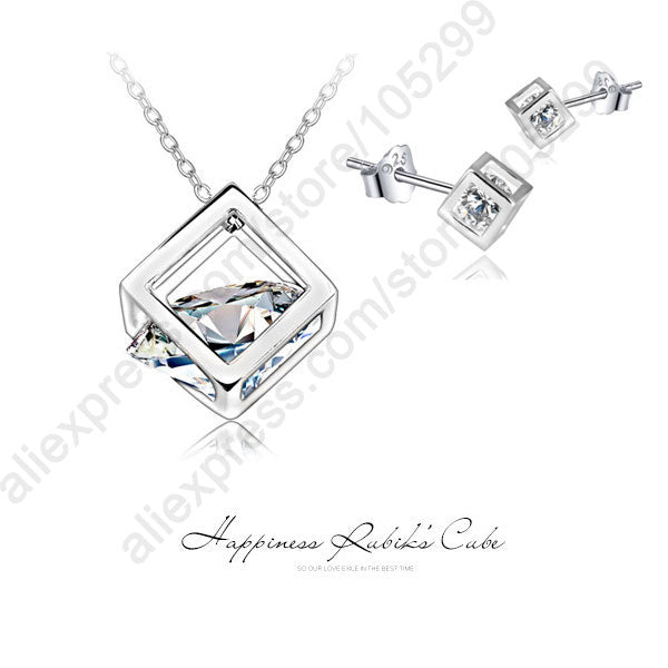 JEXXI Super Shiny Happiness Rubik Cube Real Pure 925 Sterling Silver Jewelry Cubic Zirconia Pendant Necklace Stud Earrings Sets