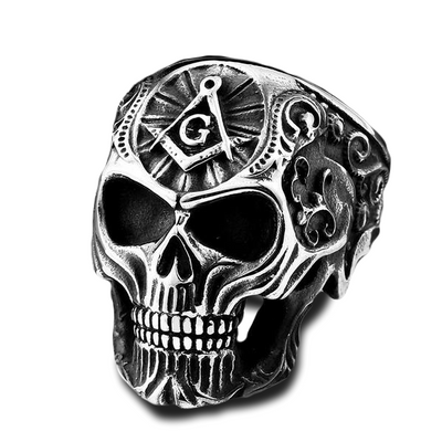Skull Ring with Illuminati Symbol - ShinyGoods.store